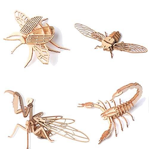 HYZM Holzbausatz Tiere für Kinder, 4Pcs DIY 3D Holzpuzzle Insekt Holzspielzeug Mechanische Modellbau Kits Denkspiele Spielzeug Geschenk für Kinder Erwachsene