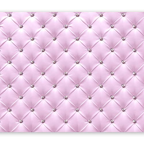 murando Fototapete selbstklebend Leder-Optik 343x256 cm Tapete Wandtapete Klebefolie Dekorfolie Tapetenfolie Wand Dekoration Wandaufkleber Wohnzimmer Diamant Rosa f-C-0097-a-a