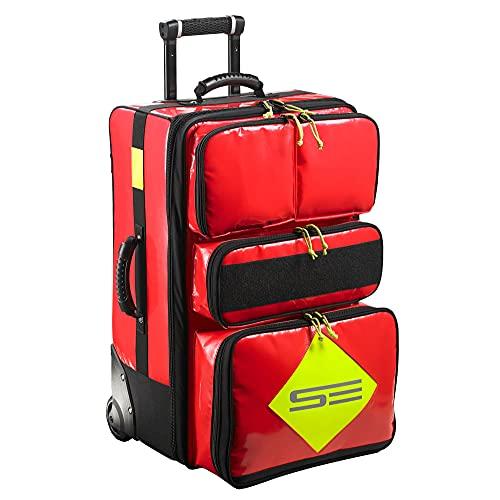 Phoenix II Trolley Notfallrucksack - 62 × 40 × 30 cm, Erste Hilfe Trolley-Rettungsrucksack, mit 5-farbigen Modultaschen, aus reißfestem 600D Gewebe, desinfektionsbeständig und abwaschbar