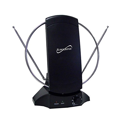 SuperSonic SC-605 HDTV Digital Amplified Indoor Antenna - Supports 1080p and 720p, Noise Reduction, FM Reception - 47-860 MHz