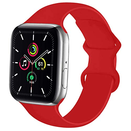 Lerxiuer Smartwatch Correa 38mm 40mm 42mm 44mm Silicona Suave Reemplazo Banda Compatible con Apple Watch Serie 6/Serie 5/Serie 4/Serie 3/SE Strap,42mm/44mm-M/L Rojo