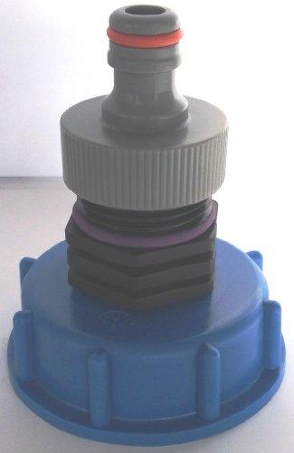 CM13599 Kappenverschraubung S60x6 mit Stecker passend für Gardena, IBC-Container-Zubehör-Regenwasser-Tank-Adapter-Fitting-Kanister