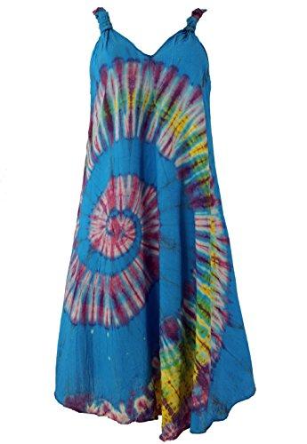 Guru-Shop Batik Tunika, Hippie Chic, Strandkleid, Sommerkleid, Damen, Blau, Synthetisch, Size:40, Kurze Kleider Alternative Bekleidung