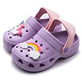 Kids Unicorn Clogs Summer Toddler Boys Girls Slippers Slide Non-Slip Garden Shoes Lightweight Slip-on Beach Pool Water Shoe Shower Sandals Purple