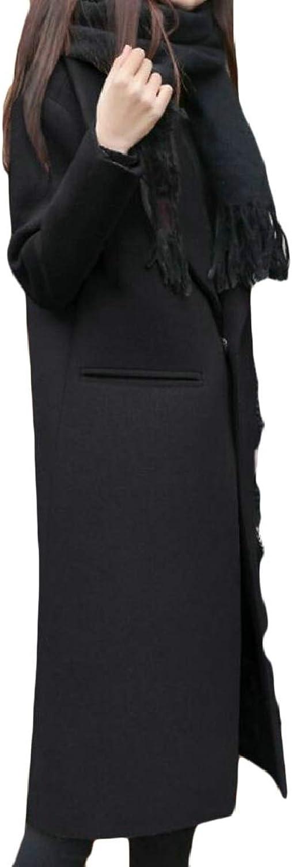 RGCA Women's Winter Mid Long Trench Coat Wool Blend Windbreaker Pea Jackets