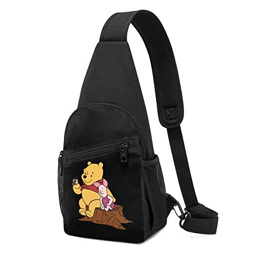 Trista Bauer Sling Bag - Winnie The Pooh y Snail Crossbody Sling Mochila Viaje Senderismo Bolsa de Pecho Mochila para Mujeres Hombres