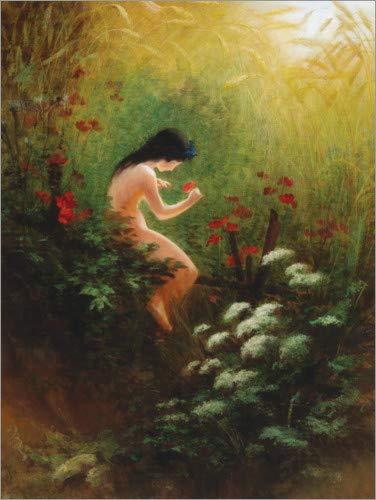 Posterlounge Hartschaumbild 60 x 80 cm: Mädchen mit Einer Blume von Karl Wilhelm Diefenbach