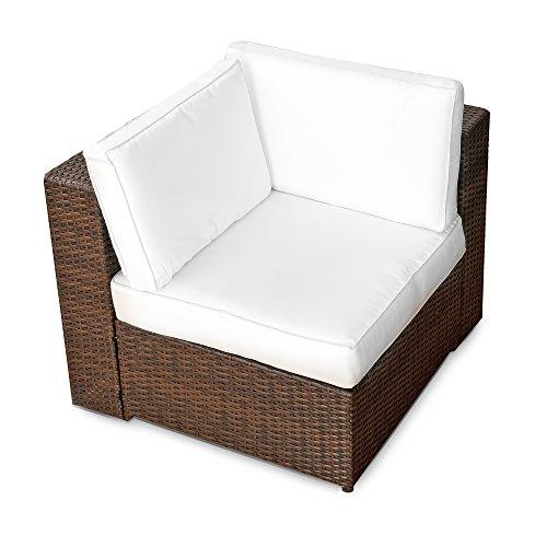 XINRO® erweiterbares 15tlg. Balkon Polyrattan Lounge Ecke – braun – Sitzgruppe Garnitur Gartenmöbel Lounge Möbel Set aus Polyrattan – inkl. Lounge Sessel + Ecke + Hocker + Tisch + Kissen - 4