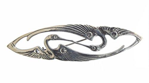 Jugendstil Damen Brosche Kraniche 925 Silber klassisch