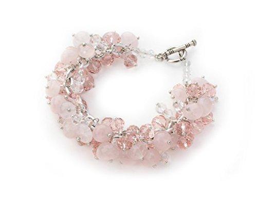 De color rosa Crystal and pulsera de cuarzo rosa para pulsera - pantal