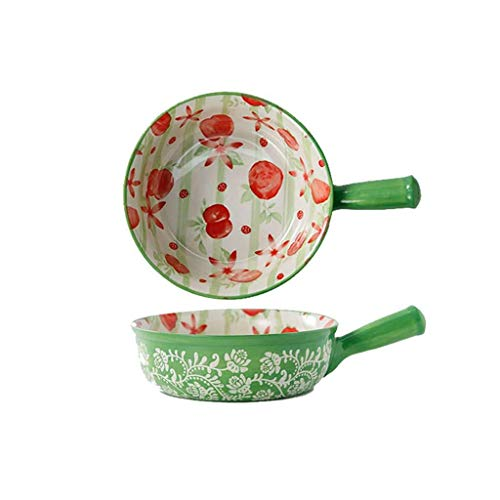 Soup Bowl with Handle Fruit Pattern, 720ML Soup Bowls in China Porcelain Ceramic Oven Microwaveable Microwave Safe Kitchen Japanese-Style Colors for Baking Baked Rice Fruit Salad-Peach