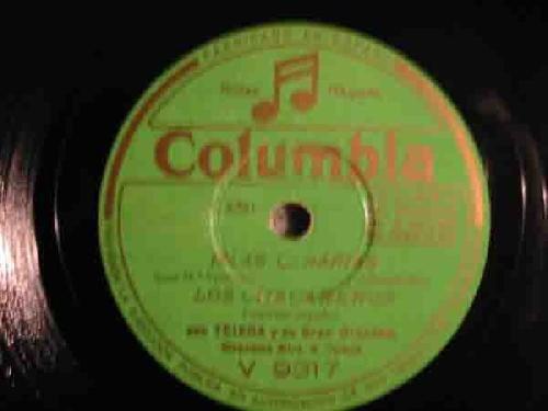 Antiguo disco pizarra - Old slate.- Islas Canarias Los Chacareros. Marinela