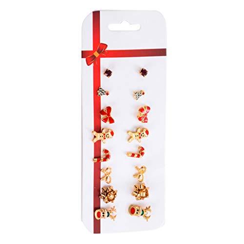 WEDFTGF Weihnachts-Ohrstecker-Set X-Mas Weihnachtsbaum Schneeflocke Elch Ohrringe Kit Urlaub Festlich Ornament Schmuck Geschenk