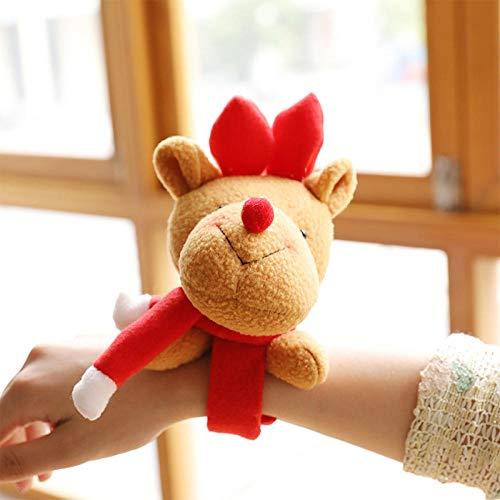 QAQAQ Braccialetto Clap Set di Bracciali Adatto per Bambini Partyornamento Natalizio Pop Circle Orso Natalizio Christmas Family Party Peluche Braccialetto Regalo