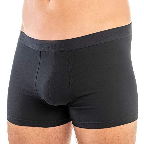 HERMKO 908960 Herren Pant Boxershorts aus Bio-Baumwolle/Elastan, Farbe:schwarz, Größe:D 6 = EU L