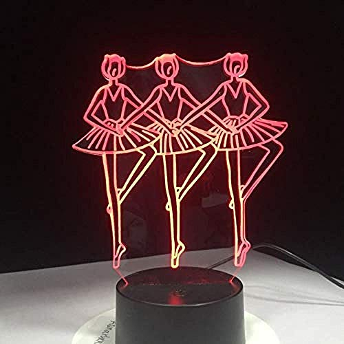 D Magische lantaarn Drie ballerina meisjes dansen LED USB nachtlampje 7 kleuren knipperende LED tafellamp kinderen nachttafeldecoratie