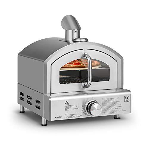 Klarstein Pizzaiolo Neo - Horno de gas para pizzas, Piedra 33 cm (Ø) y parrilla, Termómetro integrado, Reductor de presión, Presión gas 50 mbar, Botellas gas entre 5-15 kg, Acero inoxidable, Plateado