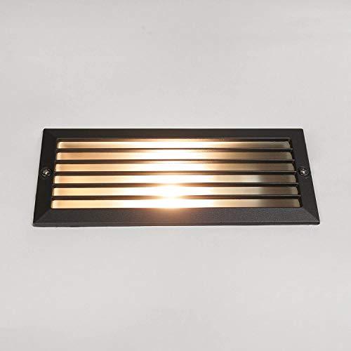 Moderne Einbauleuchte für außen IP65 Aluminium E27 Lamellen Wandleuchte Außenlampe Haus Wand