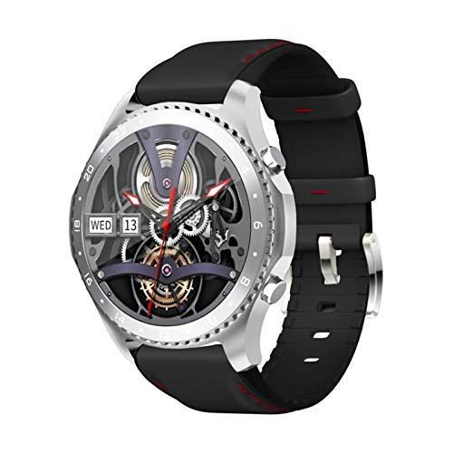 LYB Relojes Inteligentes Bluetooth Llamada De Voz Pulsera Impermeable Tasa Cardíaca Presión Arterial Temperatura Corporal En Tiempo Real Monitor De Deportes (Color : For MV60 Black Leather)