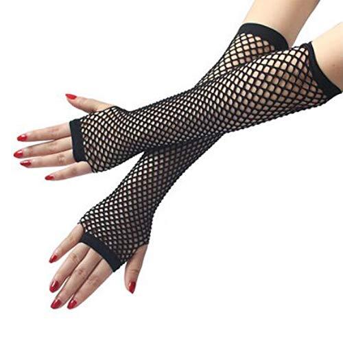 Geilisungren Fingerlose Handschuhe Damen Mädchen Lange Netzhandschuhe Handgelenk Elastisches Netz Frauen Aushöhlen Handschuhe Kostüm Zubehör Partyzubehör