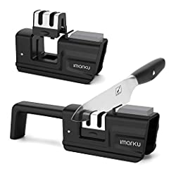 GET A SHARP EDGE IN SECONDS: Give it a few proper pulls at each slot of knife sharpener in one direction, precision blade guides position the knife at the ideal sharpening angle for quick and perfect results, that means you'll always have sharp, safe...