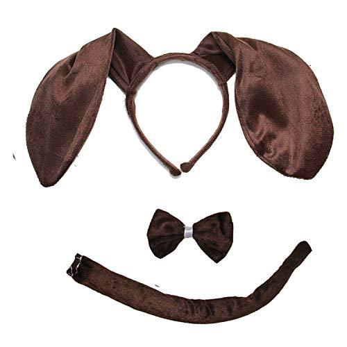 Kirei Sui Kids Dachshund Brown Dog Headband Bowtie Tail 3pcs Costume