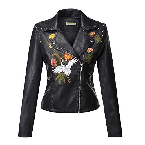 ZLYCP Bestickte Lederjacke Damen Jacke Slim Kurz Bestickt Motorrad Leder Damen Revers Gr. 48, Schwarz