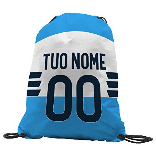 quickgadget Sacca Ginnastica GYMBACK Sport per Tifoso Lazio - Sacchetto Sportivo Calcio Fashion Borsa, Piscina, Zaino,portascarpe Scuola per Ragazze Donne Bambini, Personalizzato con Nome e Numero