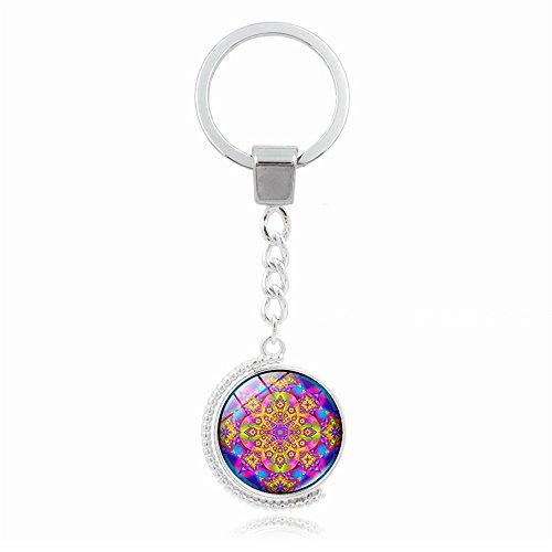 UmerBee llavero giratorio de globo mandala flor llavero de la cadena de la hora gemas llaveros llavero soporte de regalo