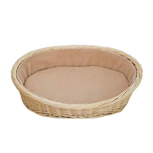QXF-D Pet Nest For Dog/Cat, Dog Basket Oval Wicker Cat Bed Washable Cushions Indoor Puppy Cot Detachable And Washable Rattan Sofa For Four Seasons (Size : 2)