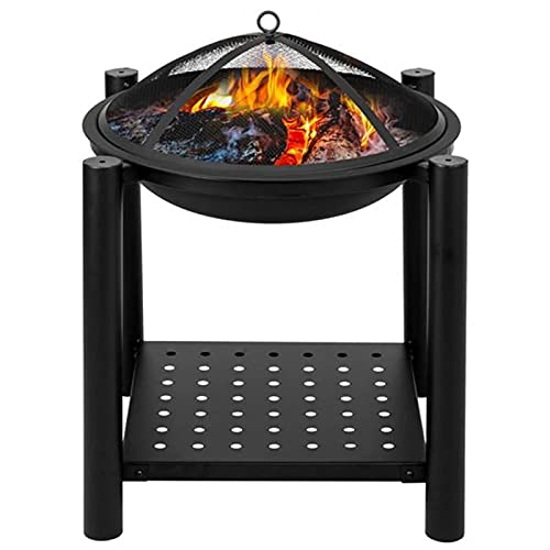 WanuigH Outdoor Fire Brazier Four Feet Iron Brazier Wood Burning Fire Pit Decoration for Backyard Poolside Easy to Use (Color : Iron, Size : One size)