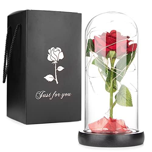 Mafiti Rosa eterna, Rosa chapada en Oro, luz de Rosa Artificial, Rosa...
