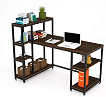 Computer Desk with Storage Shelves and Bookshelf 120cm Home Office Computer Desk Workstation Large Compact Studying able...