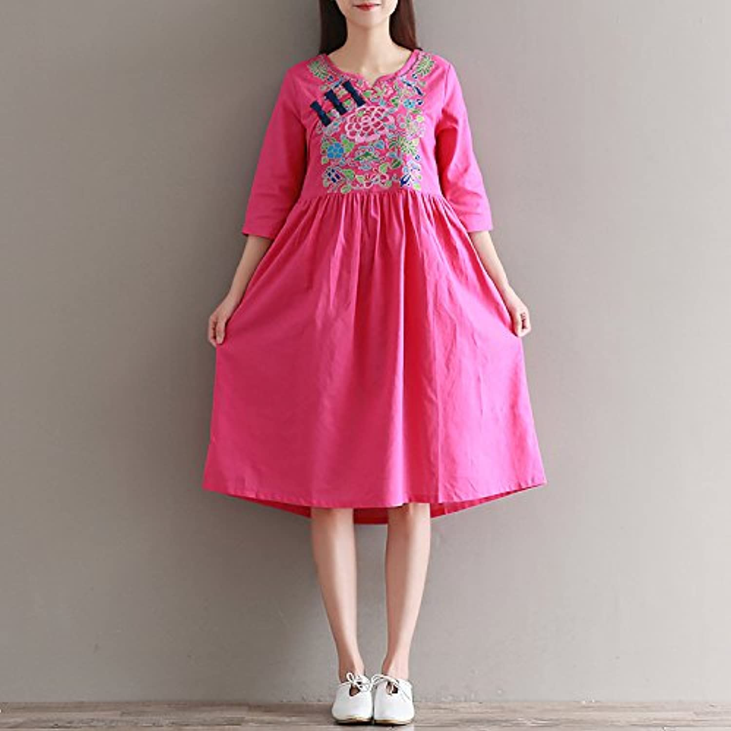 XIURONG Loose Cotton Dress Summer Female Embroidery