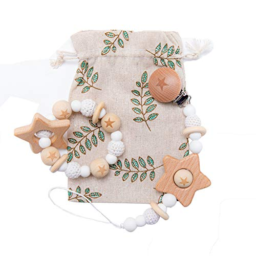 Biter teether 2pc Wooden Baby Pacifier Clip with Crochet Beads Teether Toys Organic Wooden Teething Rings BPA Free Silicone Beads Rattle Safe Montessori Toy for Infants and Toddlers