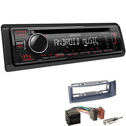 Autoradio Kenwood KDC-130UR inkl Einbauset passend für Renault Megane I Megane Scenic dunkelgrau 1-DIN mit USB AUX CD