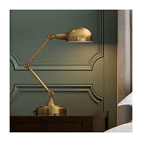 Lámpara de Mesa Lámpara de escritorio de la vendimia Dormitorio sencillo Lámpara de noche Antigua Detalle Plegable Metal Largo Swing Brazo Luces Antigua Acabado de latón Industrial Oficina Lámpara Lám