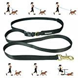 DJANGO Adjustable Hands Free Adventure Dog Leash for Walking, Running, Hiking, and Stroller Outings - Multifunctional Dog Lead with Padded Handle and Solid Brass Hardware (Black)
