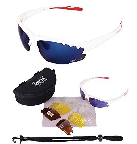Rapid Eyewear GAFAS DE SOL CICLISMO Y CORRER BLANCAS 'Breeze Cycle' para hombre y mujer. lentes intercambiables POLARIZADOS y transparentes. Ideales para ciclista, atletismo, triatlon etc. UV400