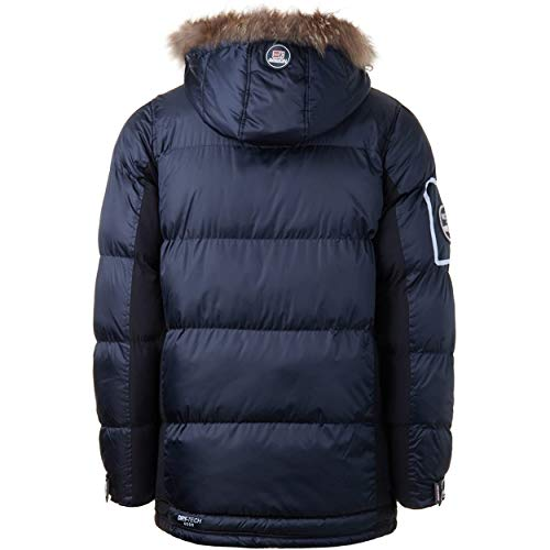Geographical Norway DANONE MEN - Men's Warm Jacket Waterproof - Thick Coat Hooded Outdoor Fur Coat - Winter Wind Jacket with Outside Lining - Ideal Jacket Gift for Men (MARINE XL)