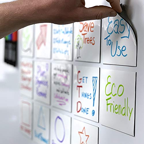 mcSquares Stickies Dry-Erase Sticky Notes. Reusable Whiteboard Stickers 4 inch Square 6 Pack - Great for Reminders, Labels, Lists, and Decals - Never Buy Paper Post Notes Again, Its Eco-Friendly!