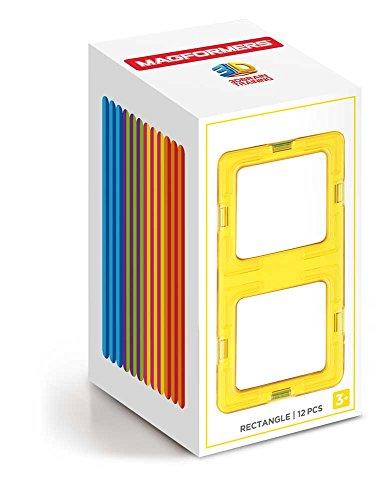Magformers Rectangle 12 Pieces Rainbow Colors, Educational Magnetic Geometric Shapes Tiles Building STEM Toy Set Ages 3+