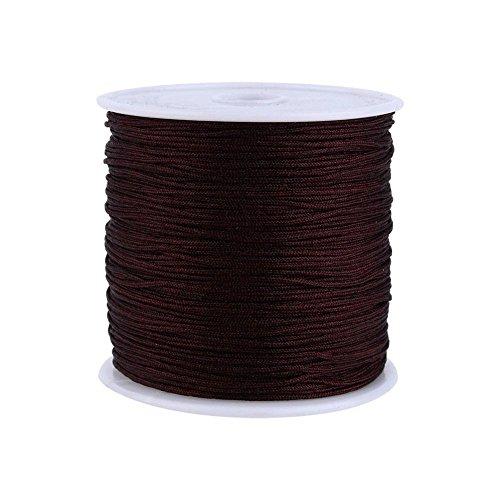 Haofy Cuerda de Nylon Cordón de Nylon Cuerda Trenzada Cuerda de Nudo Chino Cola de Ratón Macramé para Pulsera Collar Joyas DIY 100M x 0.8mm (Negro 1)