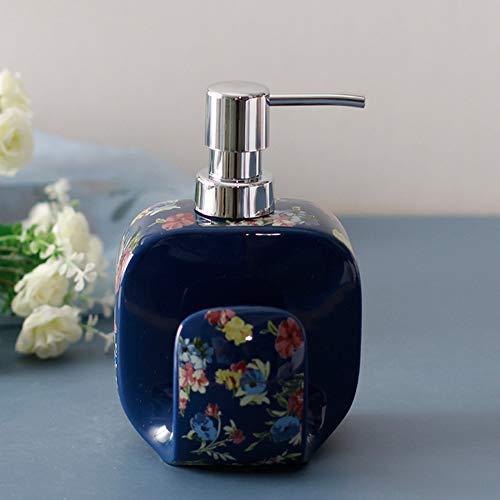 XXXKK Dispensador De Jabón,Flor Azul Cerámica Botella De Jabón Creativa Botella De Esencia Espuma Líquida Dispensador De Jabón Dispensador De Lavado De Manos De Cocina Botella De Champú Acce