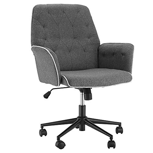 HOMCOM Bürostuhl mit Wippenfunktion Drehstuhl Home-Office-Stuhl höhenverstellbarer Schreibtischstuhl ergonomisch 360°-Drehräder Schaumstoff Dunkelgrau 66 x 69 x 89,5-97 cm