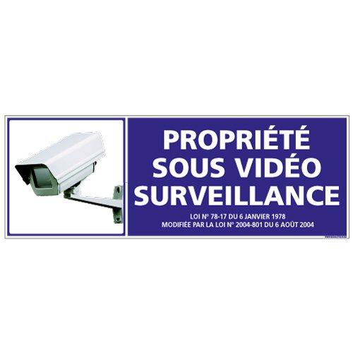 Panneau - Propriété sous Vidéo Surveillance - Plastique rigide PVC 1,5 mm - Dimensions 210 x 75 mm - Double Face Autocollant au Dos - Protection Anti-UV