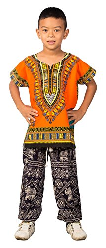 Lofbaz Unisex Child Traditional African Printed Dashiki Orange M