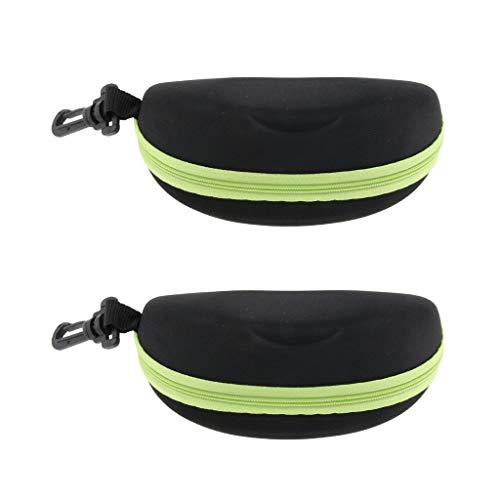 Sharplace 2X Portable Zipper Spectacle Sunglass Eyeglass Case Box Storage Pouch Green as described