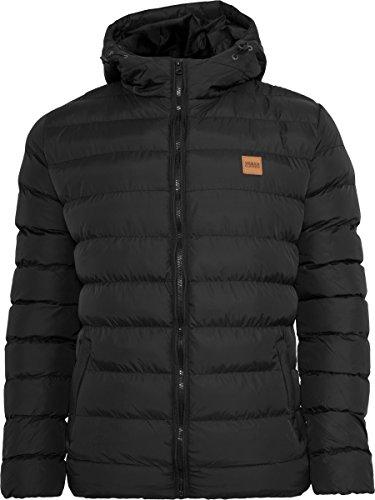 Urban Classics TB863 Herren Jacke Basic Bubble Jacket - gefütterte, leichte Steppjacke für Männer mit Kapuze und Logo-Patch - Farbe blkblkblk, Größe XL
