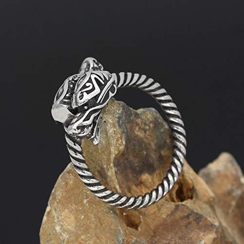 YABEME Men Viking Ring, Vintage Stainless Steel Braided Dragon Amulet Celtic Pagan Scandinavian Finger Jewelry, with Valknut Rune Gift Bag,9
